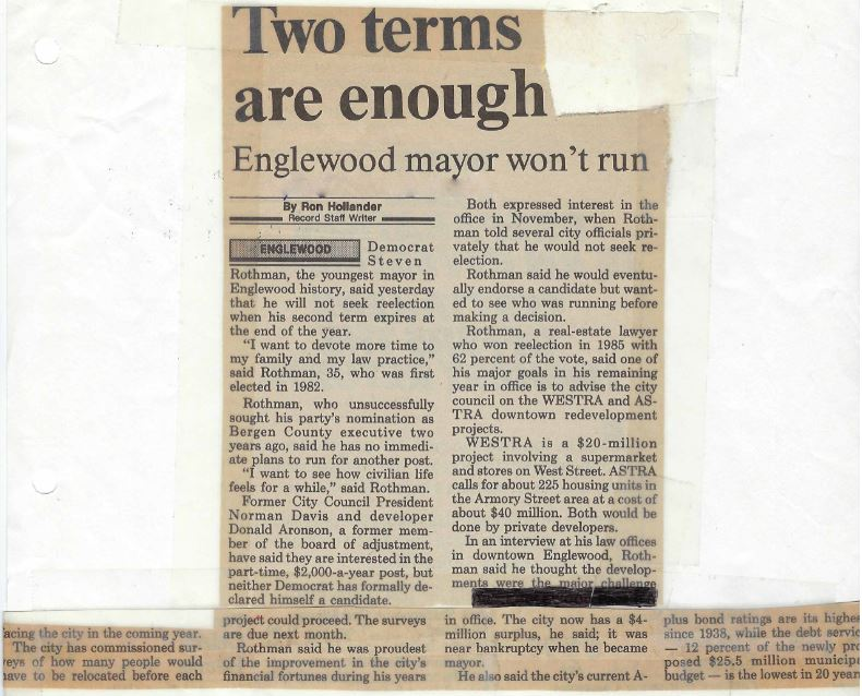 Record newspaper article on Mayor Rothman's decision to not seek reelection, 1988