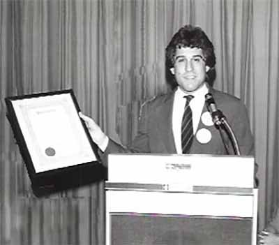 Steve Rothman pro bono Legal Counsel to the New Jersey Young Democrats, receiving NJYD Outstanding Young Democrat award, 1982