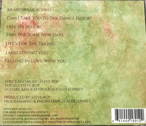 Back of Album Cover Steve Roy Music